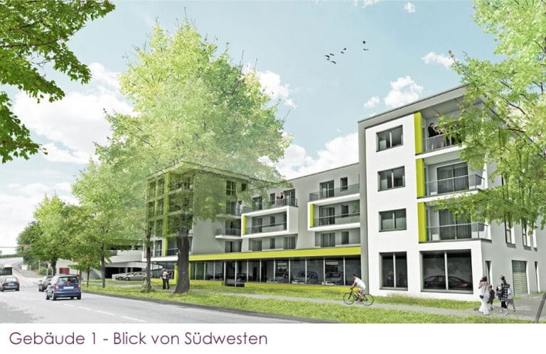 AS Norden Projekte Bebauung Neue Kasseler Straße Marburg Gebäude 1 Ansicht Süd-West
