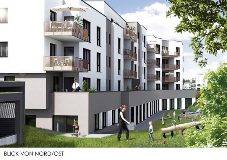 AS Norden Projekte Wohnbebauung mit KITA Stadthaus Holbein Blick von Nord-Ost