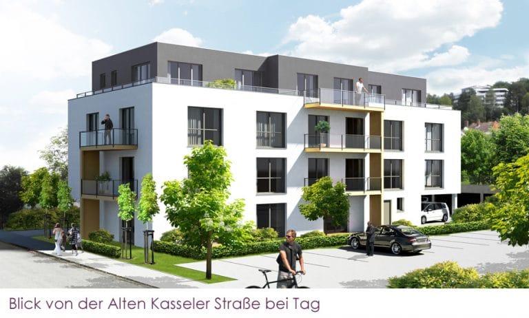 AS Norden Projekte Neubau Wohnhaus mit 9 Wohnungen Alte Kasseler Straße Marburg Ansicht Tag