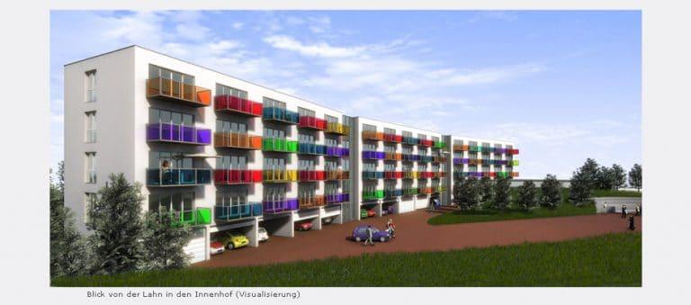 AS Norden Projekte Neubau 141 Studentenappartements mit KITA und Parkdeck Marburg Visualisierung