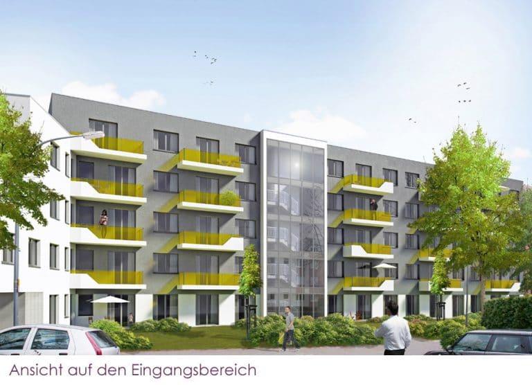 AS Norden Projekte Neubau Appartementwohnhaus mit Tiefgarage Frankfurt Ansicht Eingangsbereich