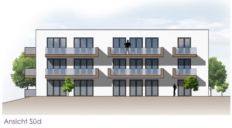 AS Norden Projekte Neubau Appartementwohnhaus mit Tiefgarage Marburg Ansicht Süd