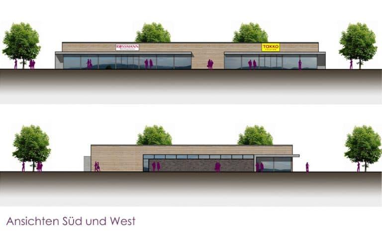 AS Norden Projekte Neubau Geschäftshaus Hungen Entwurf Ansichten Süd und West