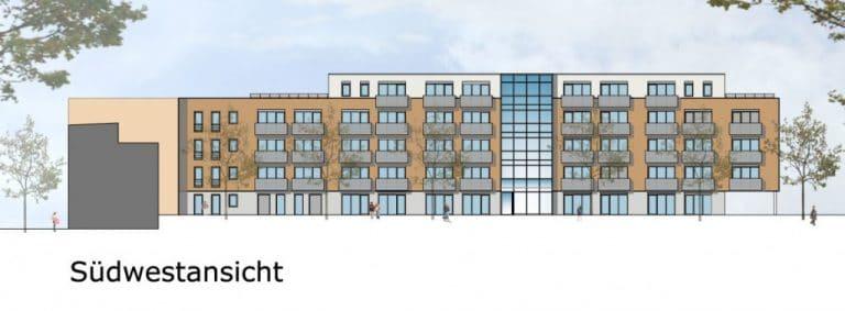 AS Norden Projekte Neubau Mehrfamilienhaus mit 52 Wohnungen Dortelweilerstraße Frankfurt Grundriss Südwestansicht
