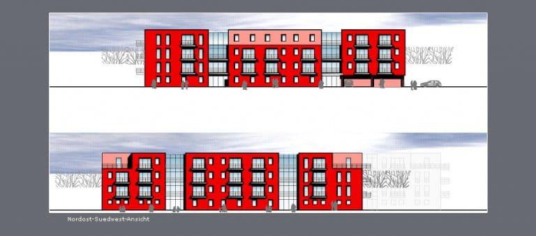 AS Norden Projekte Neubau Studenten- und Professorenappartements Berlin-Adlershof Ansicht Nordost-Südwest