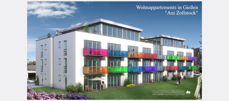 AS Norden Projekte Neubau Studentenappartemens und Loftwohnungen Am Zollstock Gießen Visualisierung