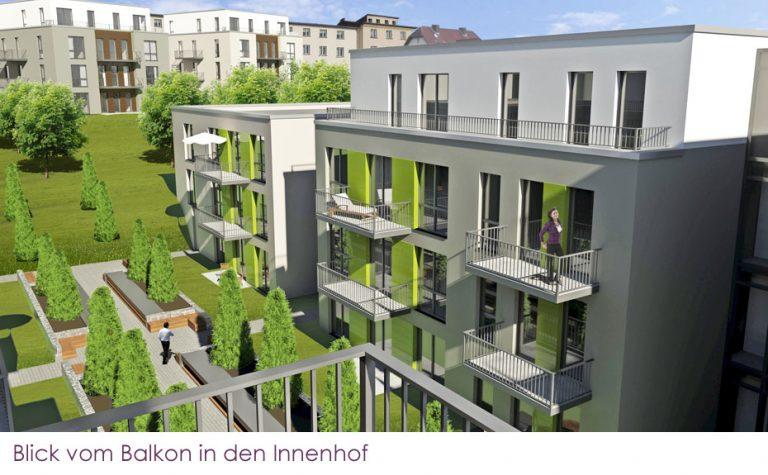AS Norden Projekte Neubau Wohnanlage Alte Uni-Gärtnerei Marburg Blick vom Balkon in den Innenhof