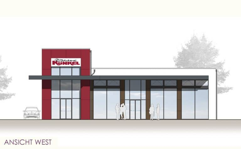 AS Norden Projekte Neubau eines Kaffeehauses Gießen Ansicht West