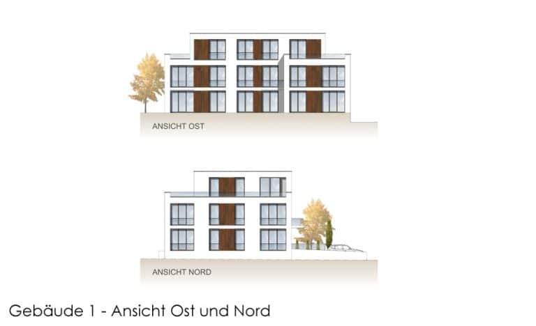 AS Norden Projekte Neubau von 3 Wohngebäuden Paderborn Ansicht Ost und Nord