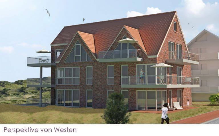 AS Norden Projekte Neubau von 7 Ferienwohnungen Juist Perspektive Westen