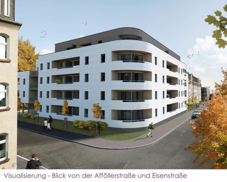 AS Norden Projekte Stadthaus Nordend Marburg Neubau Appartementhaus Ansicht Afföllerstraße Eisenstraße