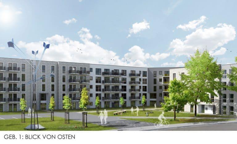 AS Norden Projekte Wohnbebauung Brüder-Grimm-Straße Hanau Blick von Osten